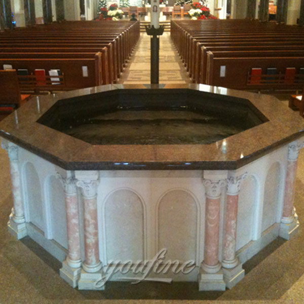 Religious statues of large marble holy water font for church interior decor on discount