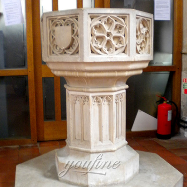 Religious statues of marble carving water font in stock