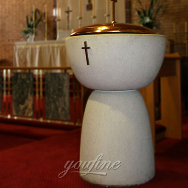 Religious statues of modern water font design for church use in stock