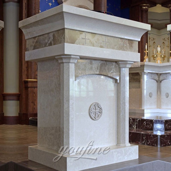 Religious indoor statues of modern marble pulpit for church furniture