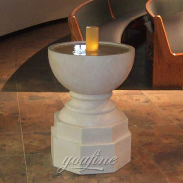 Religious statues of small marble water font for church interior decor
