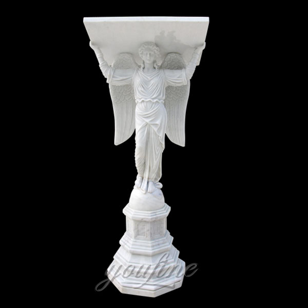 Religious statues of white marble angel altar design for indoor decor in stock