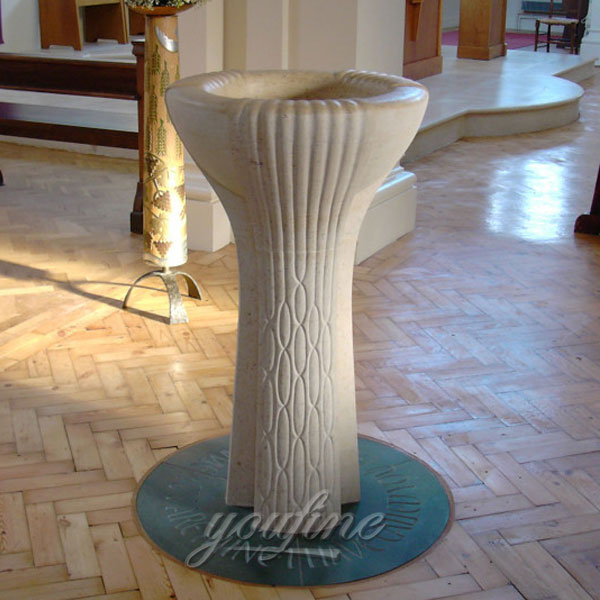 The price religious statues of white marble holy water font for church design