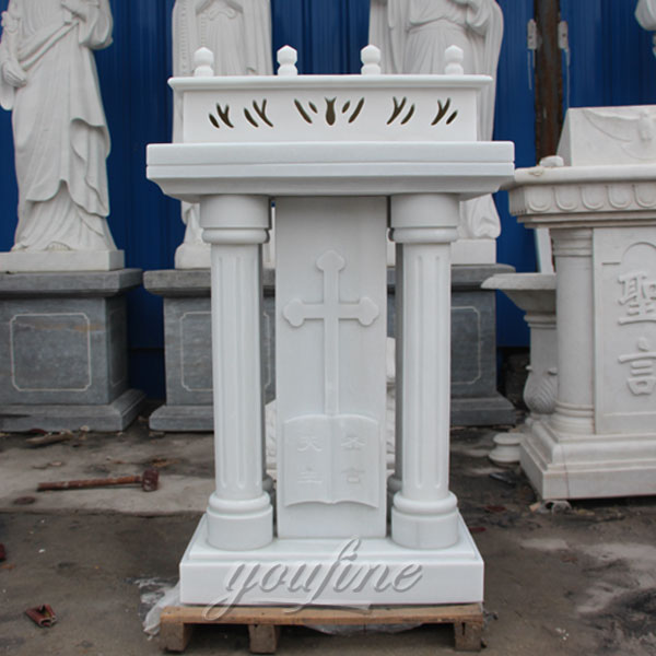 Religious statues of white marble church pulpit furniture with cross decor for sale