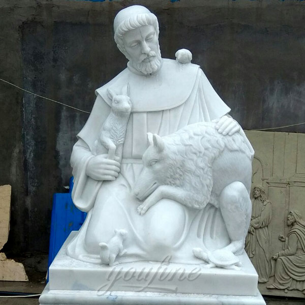 Religion white marble saint statues of St. Francis design