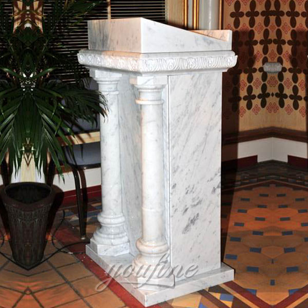Simple design marble church pulpit with columns decor for sale