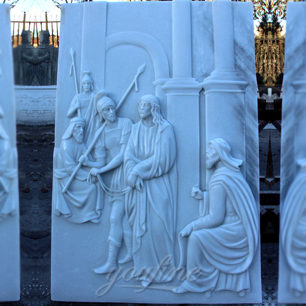 White marble carving religious relief sculptures the stations of the cross for sale