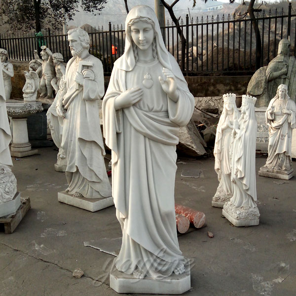 life size marble carving sacred heart mary religious statues for sale