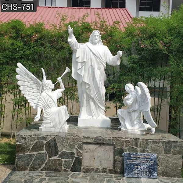 Famous White Marble Jesus Christ Statue with 2 Angels Design for Sale MOKK-751