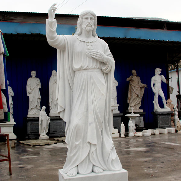 Outdoor Christ Sculpture Sacred Heart of Jesus Marble Statue for Sale CHS-289