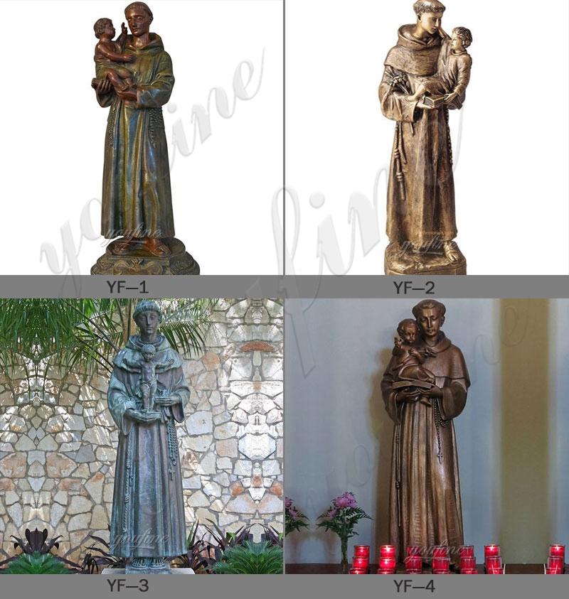 Bronzr St Anthony with Baby Jesus Garden Statue