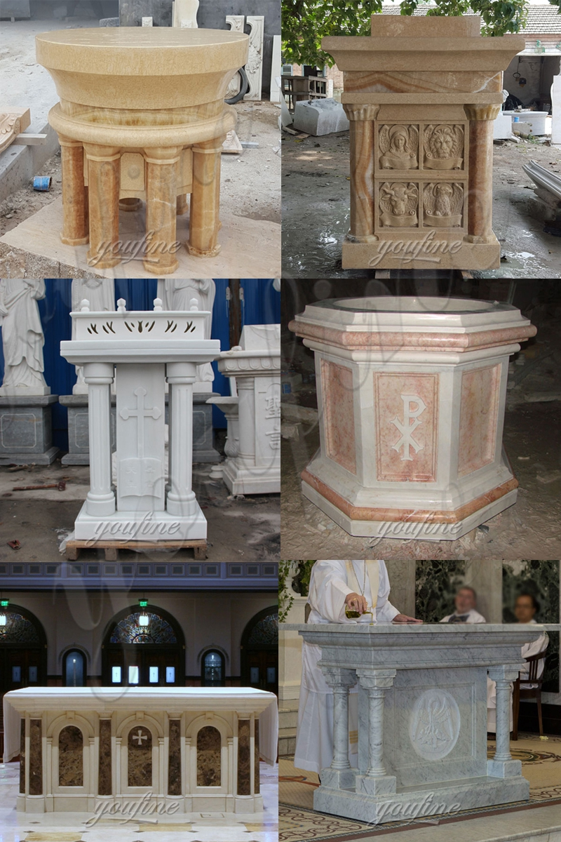 Hand Carved White Marble Church Pulpit