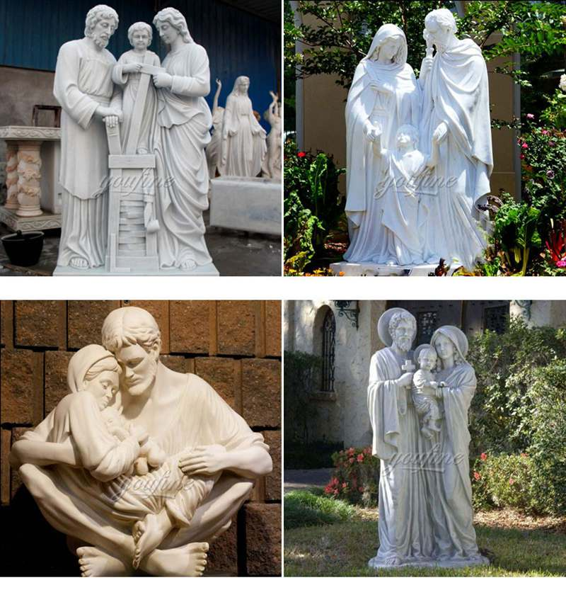 Marble Holy Family Outdoor Statue Religious Sculpture for Sale