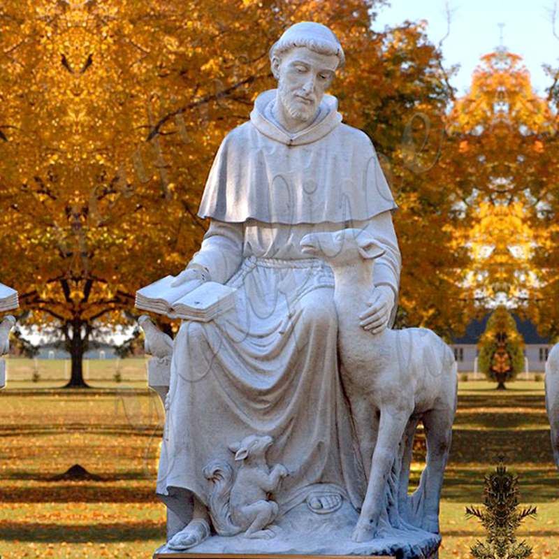 Outdoor Marble Sculpture White St Francis Statue Decoration for Sale