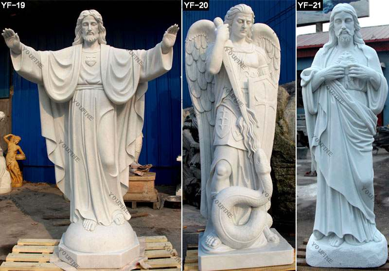 Outdoor Marble Sculpture White St Francis Statue Decoration