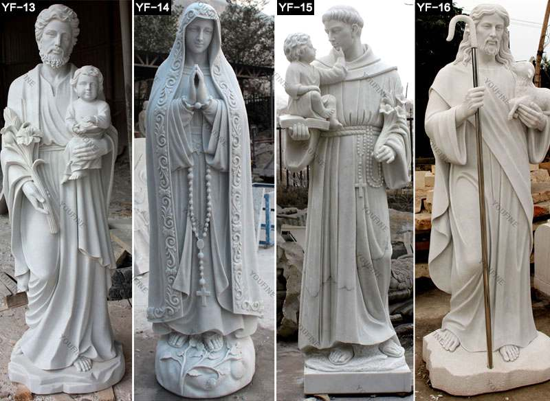 Outdoor Marble Sculpture White St Francis Statue