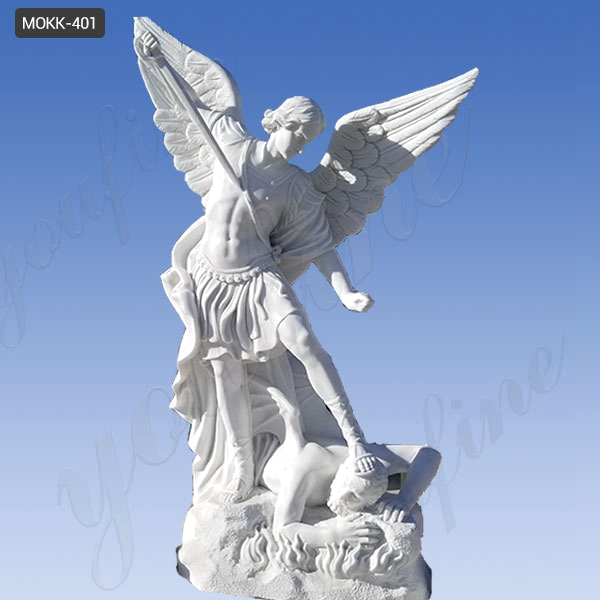 Life Size Saint Michael the Archangel Slaying Demon Marble Statue for Sale MOKK-401