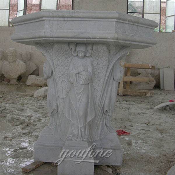 High Quality White Marble Church Pulpit Hand Carved with Figures for Sale CHS-327