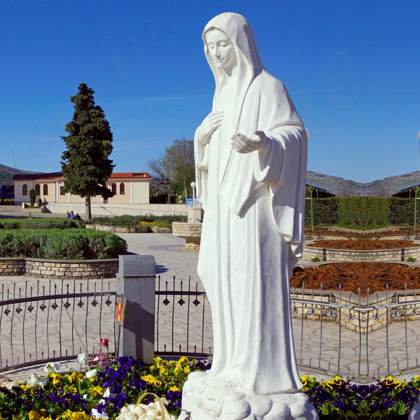 White Marble Catholic Our Lady of Virgin Mary Statue Garden Decor for Sale CHS-090