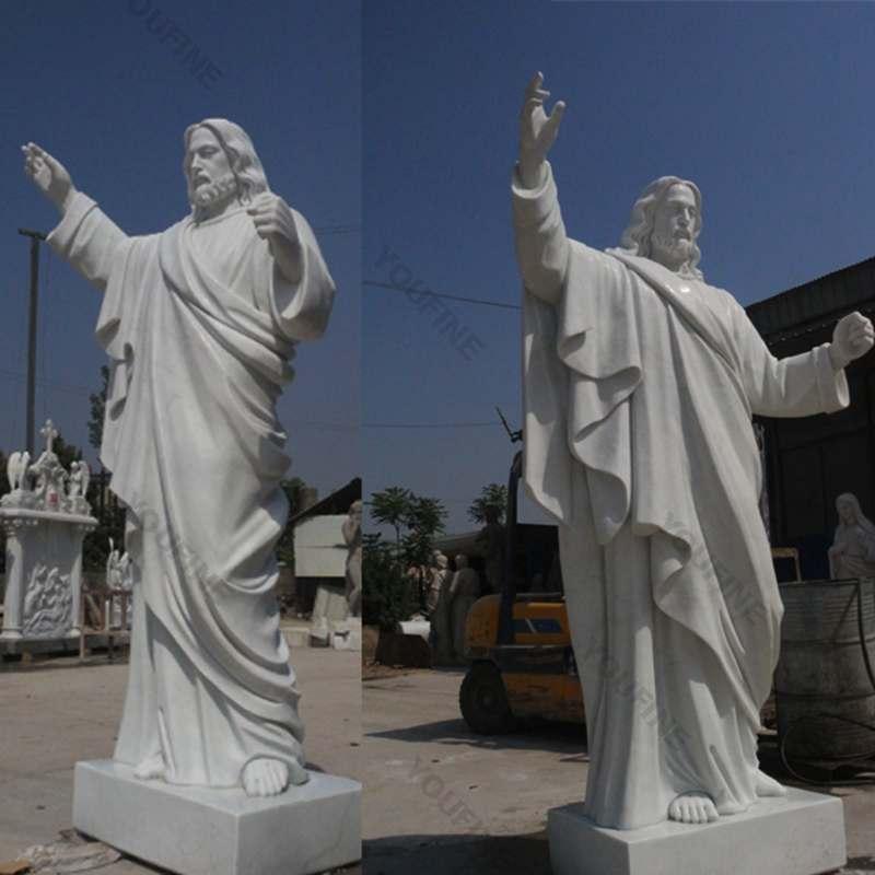 Outdoor Jaint catholic white marble church statues of christ Jesus making for parish ceremony