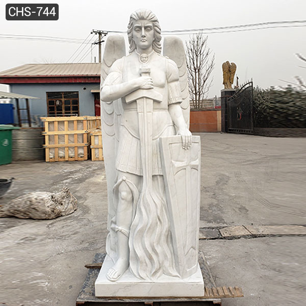 White Marble Archangel St Michael Statue Outdoor Garden Sculpture