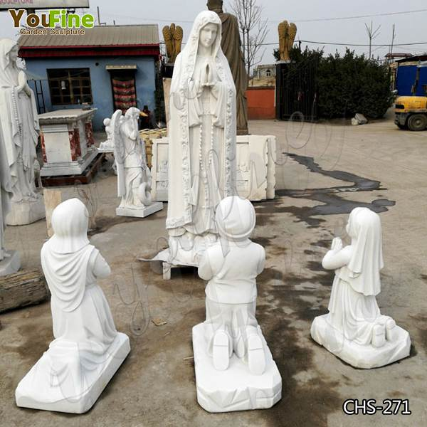 Outdoor Marble Our Lady of Fatima Statue with Three Shepherd Children for Church Supplier CHS-271