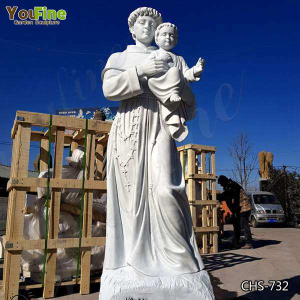 High-polished Religious St. Anthony with Baby Jesus Marble Statue Manufacturer CHS-732