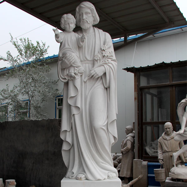 Natural Life Size Marble St. Joseph with Baby Jesus Statue Supplier CHS-733