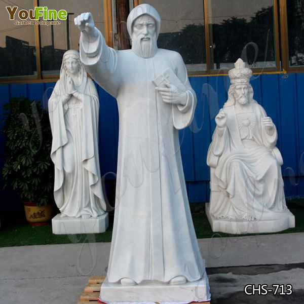 High-polished Customized Size White Marble Saint Charbel Statue for Church Prices CHS-713