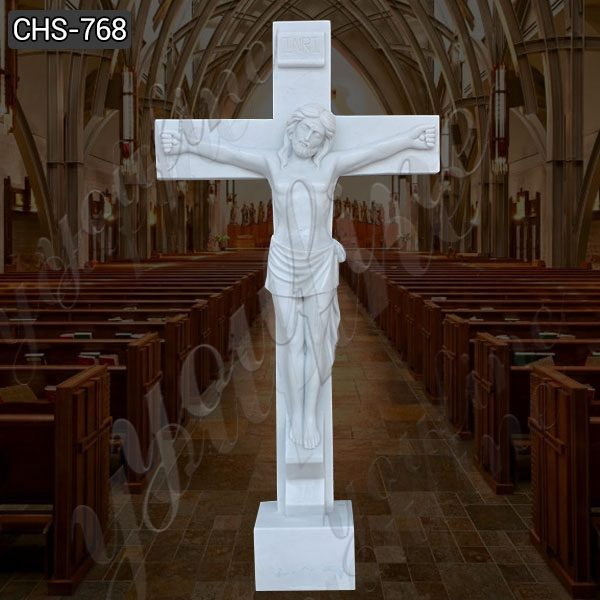 Hand Carved Catholic Church Marble Jesus on The Cross Sculpture for Sale CHS-768