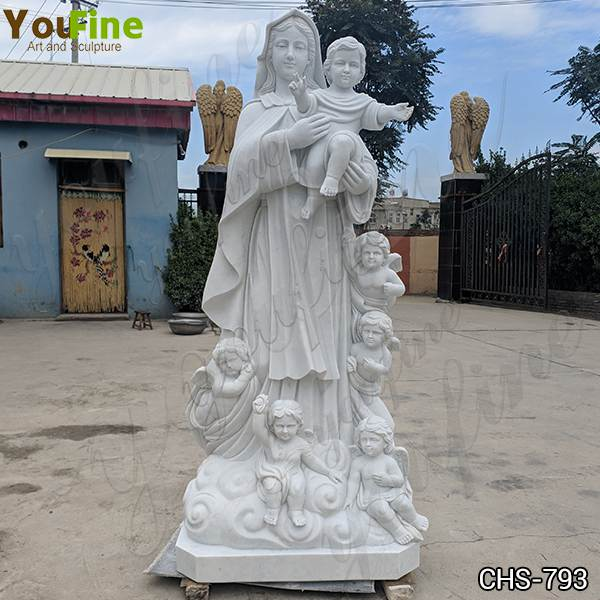 Religious Marble Our Lady with Children Sculpture for Church with Competitive Price CHS-793
