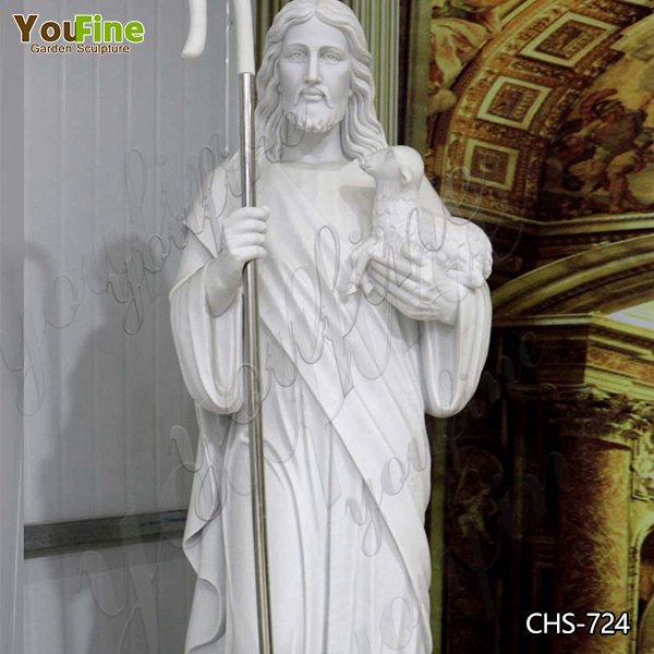 High Polished Religious Natural Marble Jesus with Lamb Stone Statue Manufacturer CHS-724