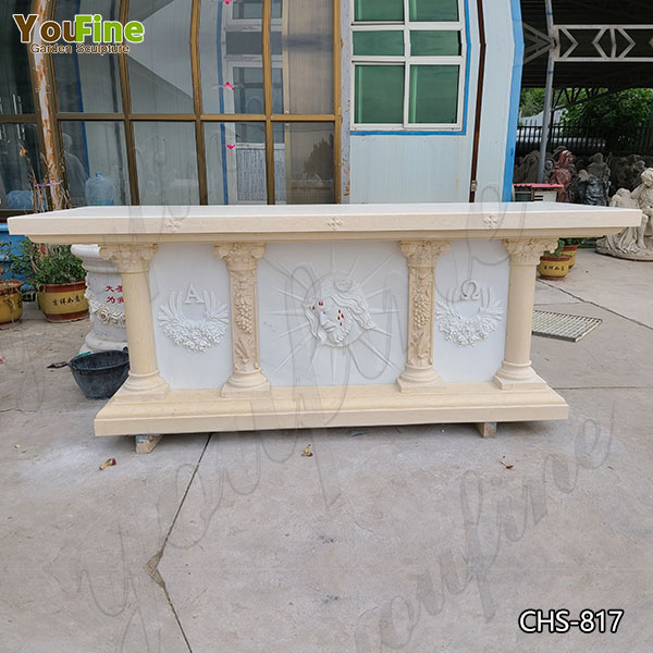 High-quality Church White Marble Altar with Jesus for Decor Supplier CHS-817