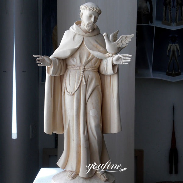 Life Size White Marble Religion St. Francis Statue for Sale CHS-711