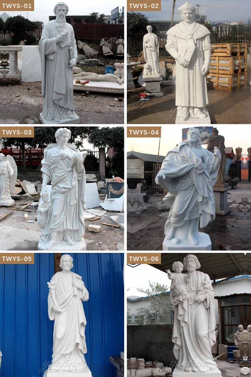Life Size White Marble Religion St. Francis Statue for Sale