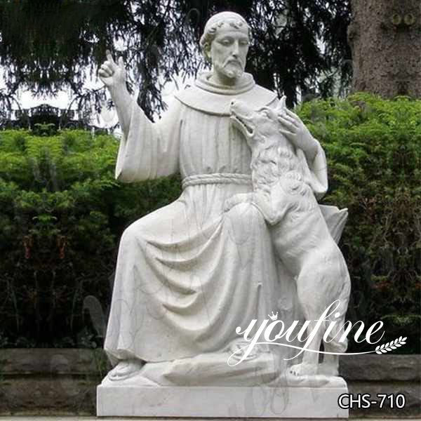 Church Decoration Marble St Francis Statue Life Size for Sale CHS-710