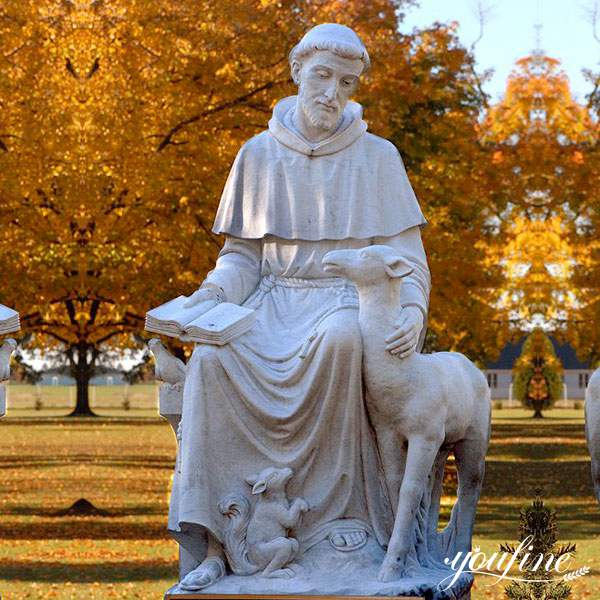 Outdoor Marble Sculpture White St Francis Statue Decoration for Sale CHS-709