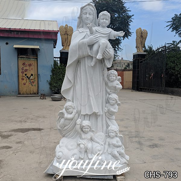 Religious Marble Our Lady with Children Sculpture for Church CHS-793