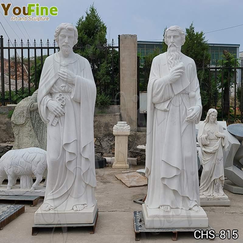 Life-Size White Marble Saint Peter Statue Church Decor for Sale CHS-815